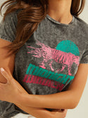 GUESS Midnight Tiger Grey Womens Tee front detailed  view