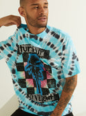 GUESS Oversized Basic Zone Out Blue Tie Dye Men's Tee Front Detailed View