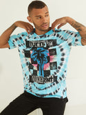 GUESS Oversized Basic Zone Out Blue Tie Dye Men's Tee Front View