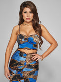 GUESS Penelope Cami Crop Top Multi Blue Women's Front View