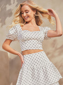 GUESS Polka Dot Nadia White Women's Top Model View