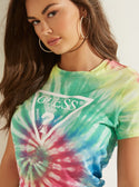 GUESS Rainbow Tie-Dye Easy Womens Tee front detailed view