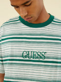 Guess Originals Cascade Striped Tee in Green and White