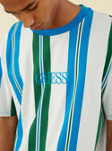 Guess Originals Royal Blue Green Striped Tee super detailed image