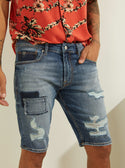 Mid-Rise Slim Straight Colour Block Denim Blue Men's Shorts Front Detailed View