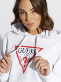 White Long Sleeve Classic Triangle Hoodie