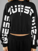 GUESS Amber Curved Logo Pull Over Black Women's Pullover Sweater Front Detailed Image W0GQ05R8OY2