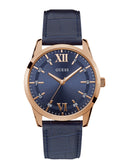 GUESS Blue Rose Gold Theo Mens Watch front view