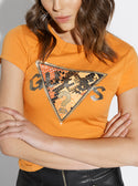 GUESS Snake Skin Logo Orange Womens Tee front detailed  view