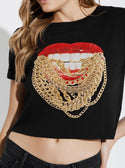 GUESS ECO CHAIN LIPS CROP TEE image
