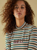 GUESS GUESS ORIGINALS LONG SLEEVE STRIPED MOCK NECK TEE image