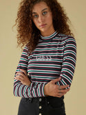 GUESS ORIGINALS LONG SLEEVE STRIPED MOCK NECK TEE