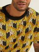 black and yellow guess Oversized Stacked Jaguar Tee front detailed image M0YP35K8FY1