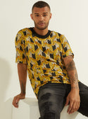 black and yellow guess Oversized Stacked Jaguar Tee front image M0YP35K8FY1