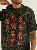 black guess Oversized Basic Warrior Script Tee front detailed image M0YI0ER9Y40-F4G5