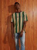 Guess Originals Short Sleeve Green Ivory Striped Tee model image