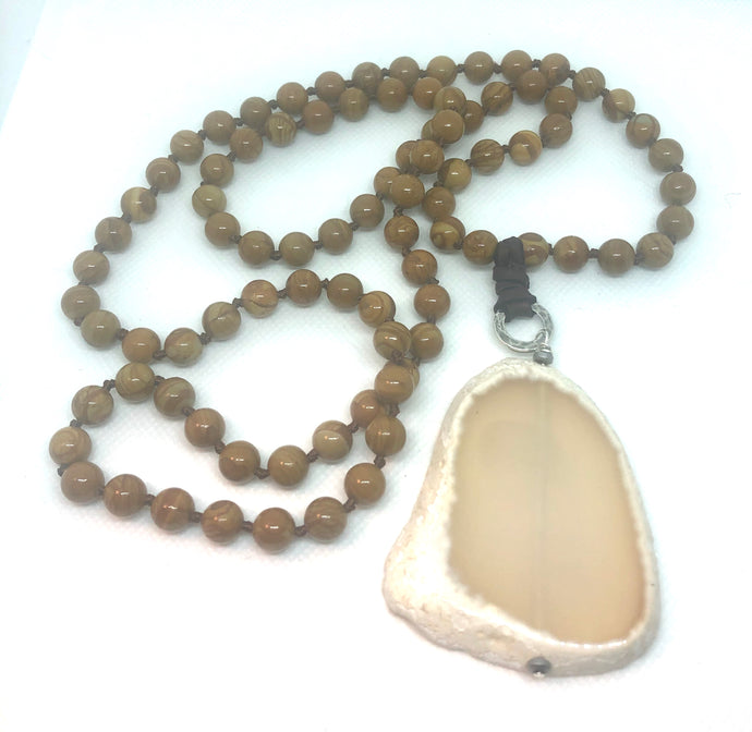 Chrysanthemum Stone Mala Beads
