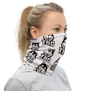 Red Logo Pattern Face Mask - White