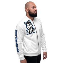 "Load image into Gallery viewer, Blue ""OTH"" Bomber Jacket - White"