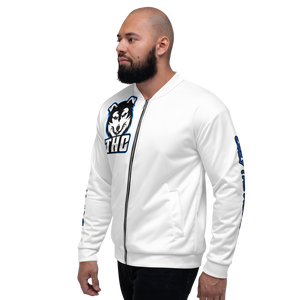 "Blue ""OTH"" Bomber Jacket - White"
