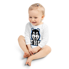 Load image into Gallery viewer, Blue Logo Long Sleeve Onesie