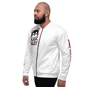 "Red ""OTH"" Bomber Jacket - White"