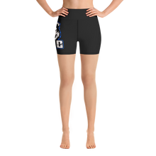 Load image into Gallery viewer, Blue Logo Yoga Shorts - Black