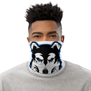 Blue Logo Facemask - White