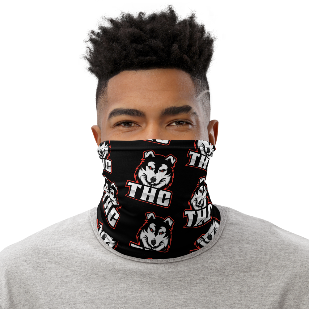 Red Logo Pattern Face Mask - Black