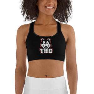 Red Logo Sports bra - Black