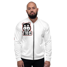 "Load image into Gallery viewer, Red ""OTH"" Bomber Jacket - White"