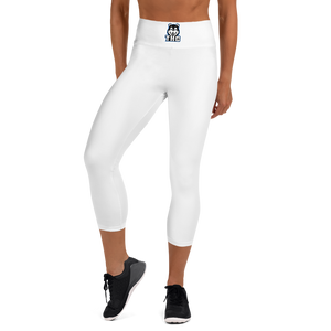 White/Blue Logo Yoga Capri Leggings