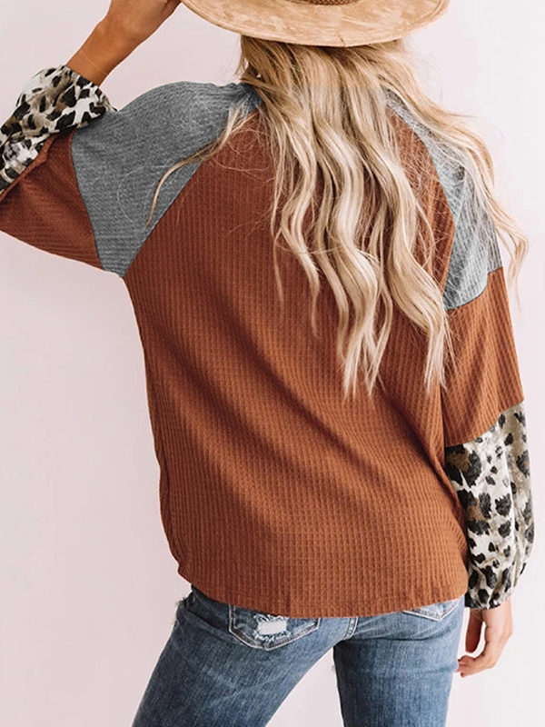 Leopard Print Stitching Long Sleeves Blouse