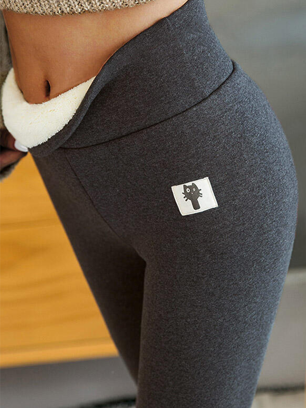Winter Thickened Warm Fleece Lined High Waist Leggings