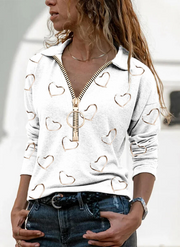 Love Print V-Neck Long Sleeve Casual Blouse