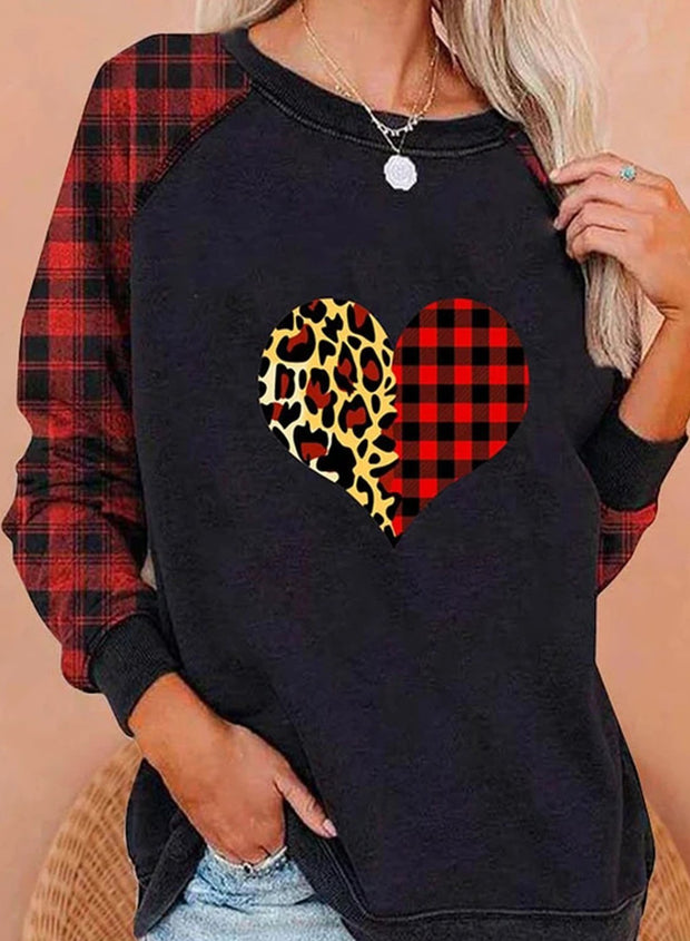 Solid Plaid Leopard Casual Daily Sweatshirts