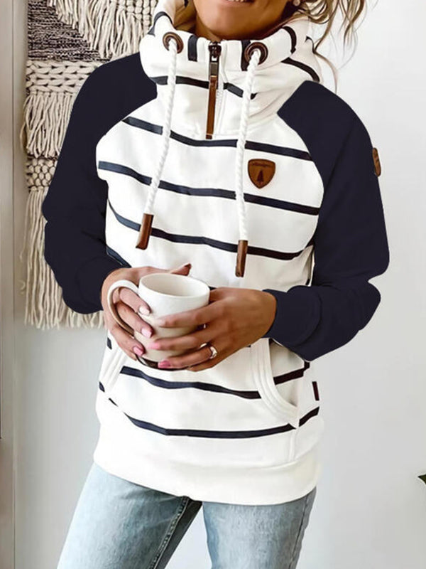 White And Black Cotton Blend Long Sleeved Striped Sweatshirt