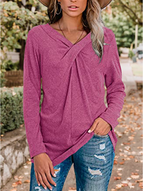 V-Neck Long Sleeves Neckline Twist Casual Blouse