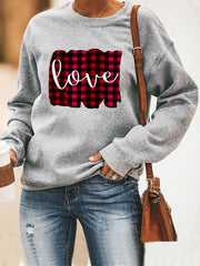 Check Print Long Sleeve Sweatshirt