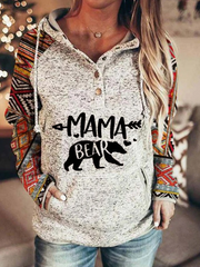 Mama Bear Color Block Pocketed Hoodie