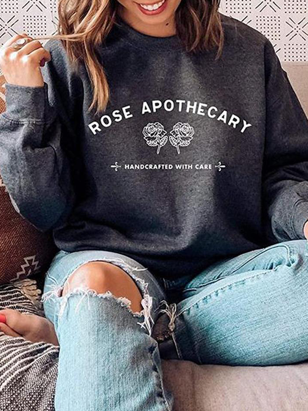 Floral Letter Print Long Sleeve Crew Neck Sweatshirt