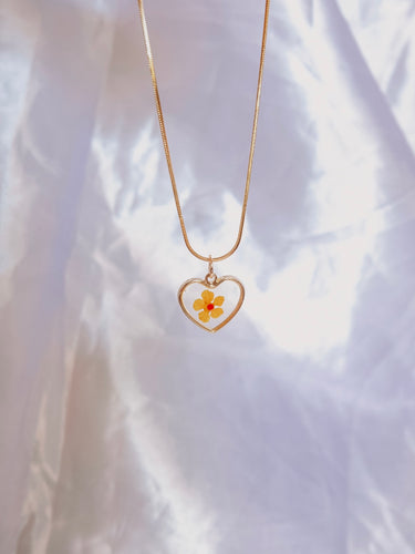 Dainty Pressed Flower Heart in Buttercup