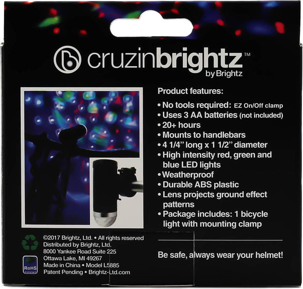 Cruizin Brightz Bike Light (Red, Green, BLue)