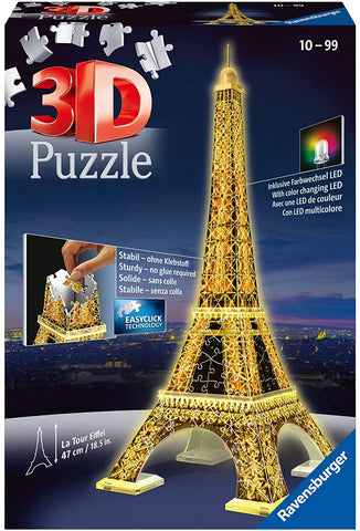 Eiffel Tower - Night Edition - 216 Piece 3D Jigsaw Puzzle for Kids and Adults