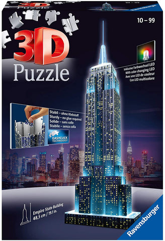 Empire State Building - Night Edition - 216 Piece 3D Jigsaw Puzzle for Kids and Adults