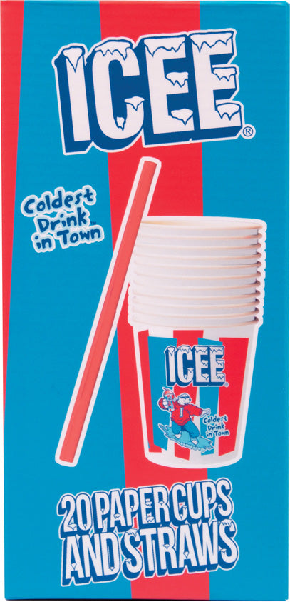 Icee 20 Paper Cups and Straws Set REFILL