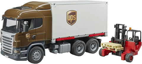 Bruder UPS Scania Logistic Truck With Forklift