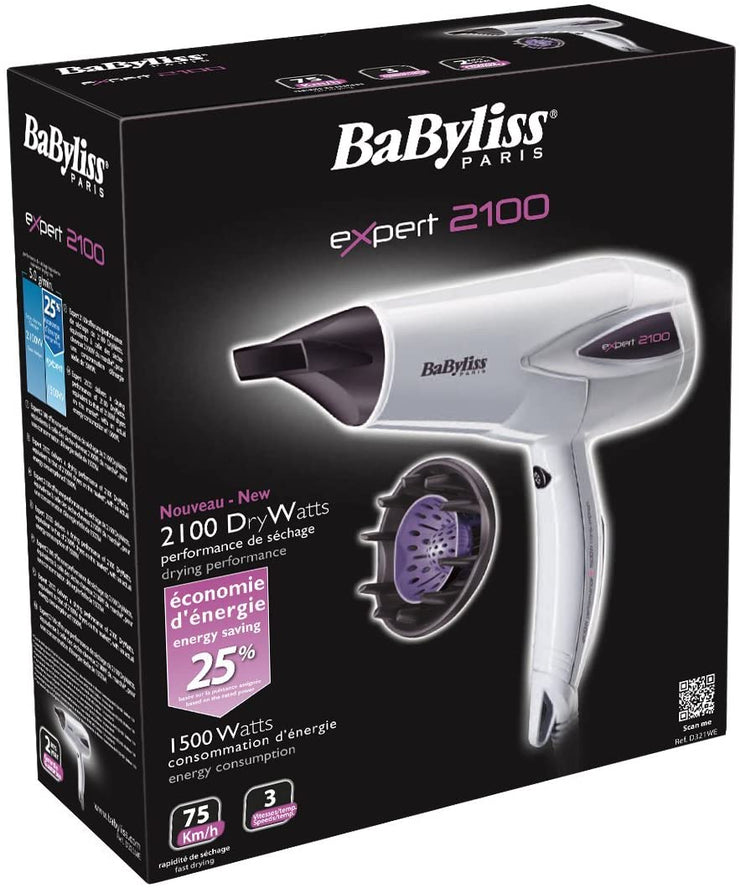 BaByliss Expert Hair Dryer White & Purple-D321WSDE