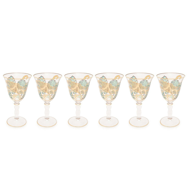 Combi Latisha Goblet Set - Green and Gold, 260 ml, Large, 6 Piece - G748Z/96