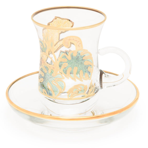 Combi Lesley Tea Cup and Saucer Set - Green and Gold - G748Z/35